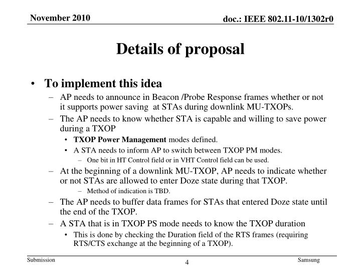 Details of proposal