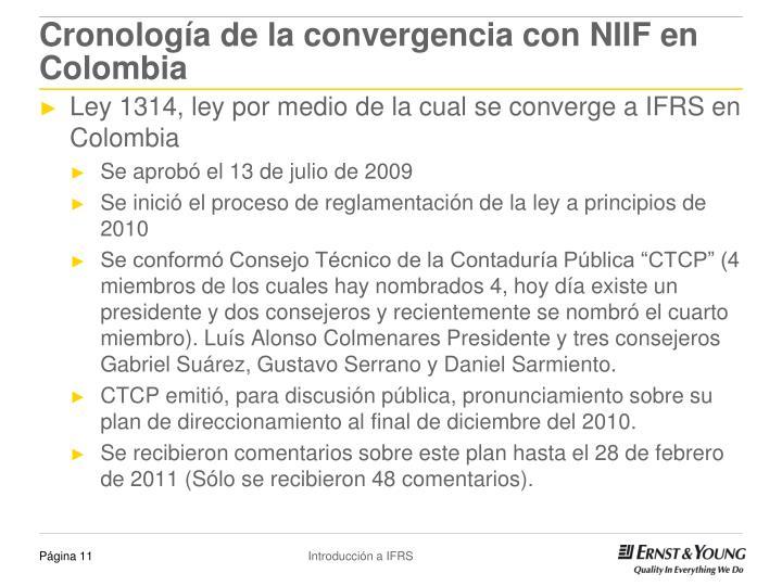 Cronología de la convergencia con NIIF en Colombia