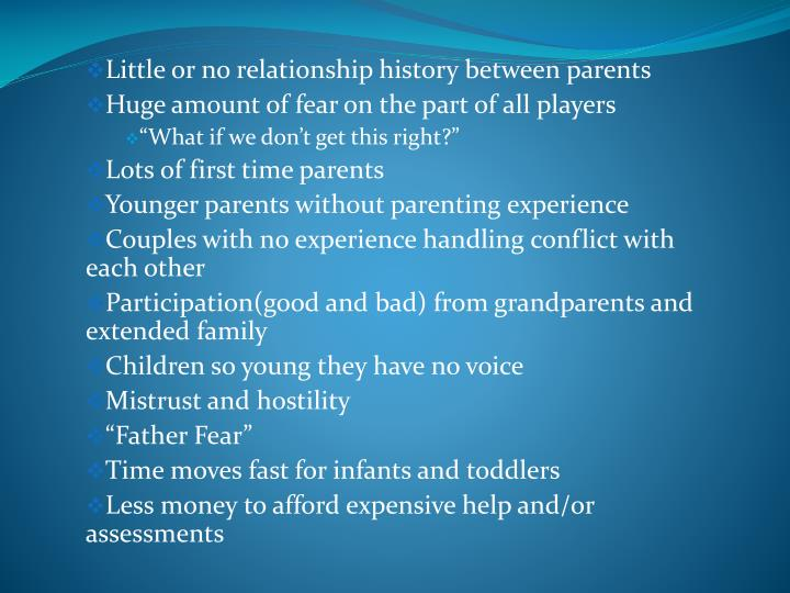 Little or no relationship history between parents