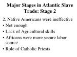 major stages in atlantic slave trade stage 2