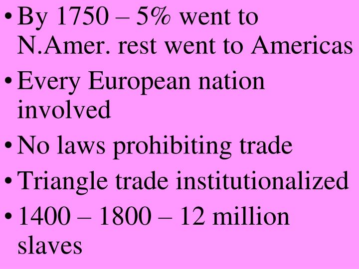 By 1750 – 5% went to N.Amer. rest went to Americas