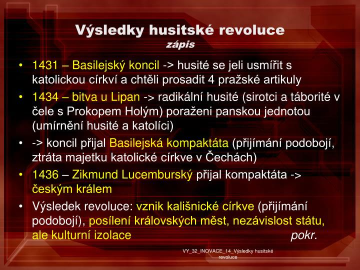 Vsledky husitsk revoluce