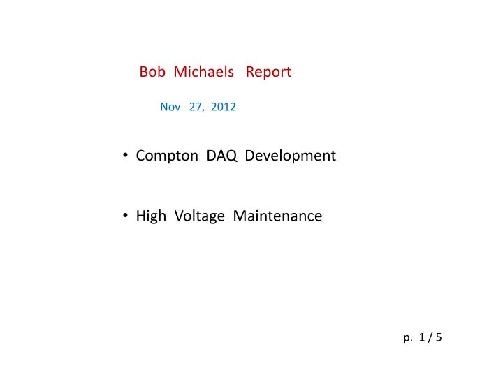 Bob  Michaels   Report