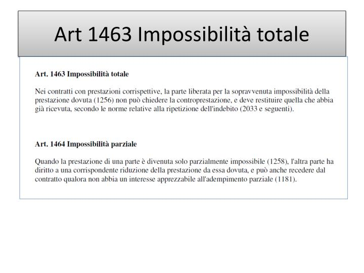 Art 1463 Impossibilità totale