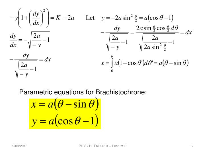 Parametric equations for