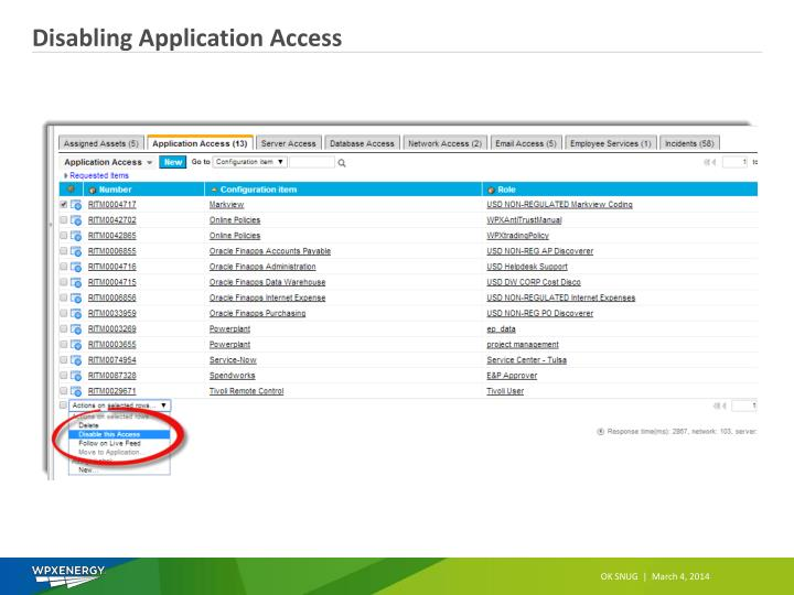 Disabling Application Access