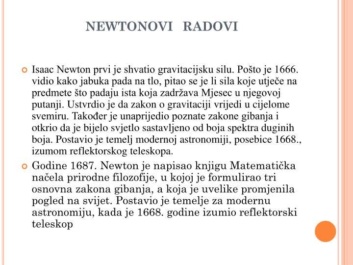 newtonovi  radovi