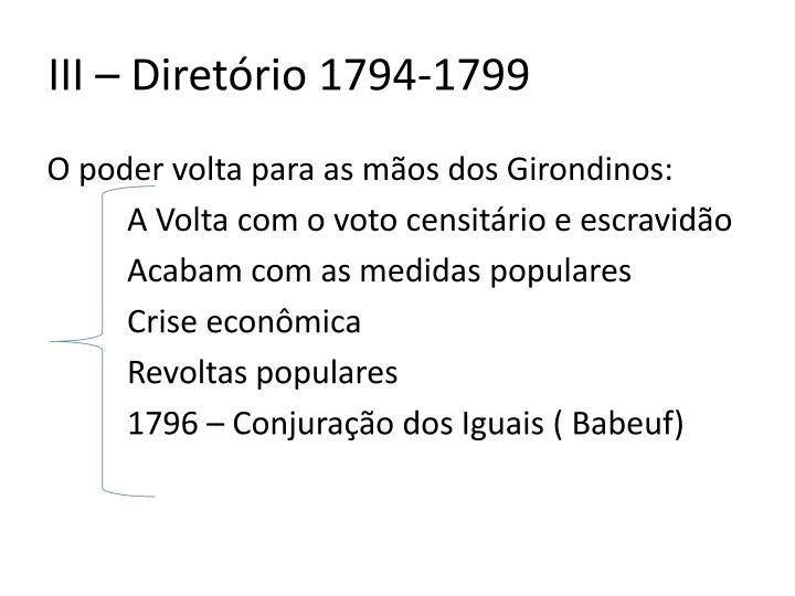 III – Diretório 1794-1799