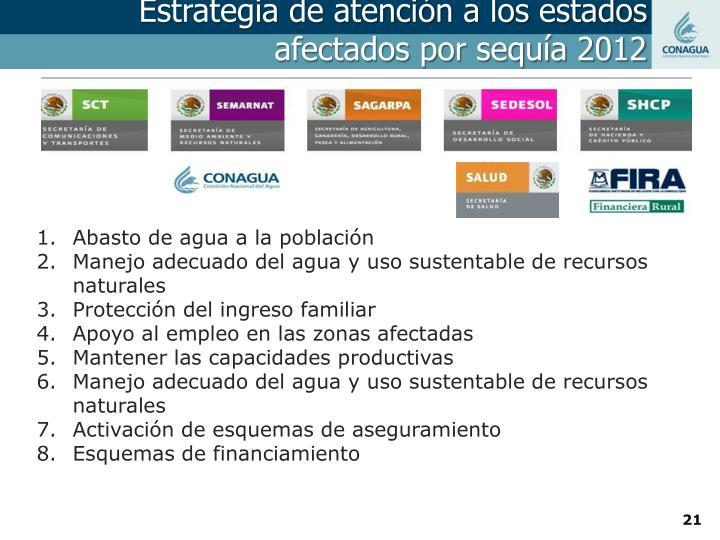Estrategia de atención a los estados afectados por sequía 2012
