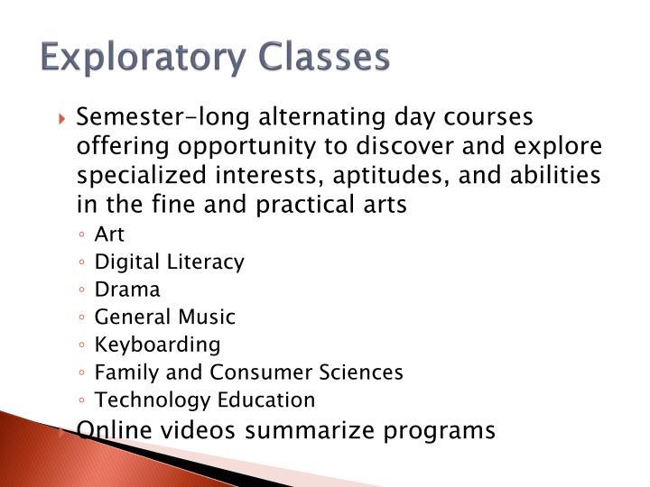 Exploratory Classes