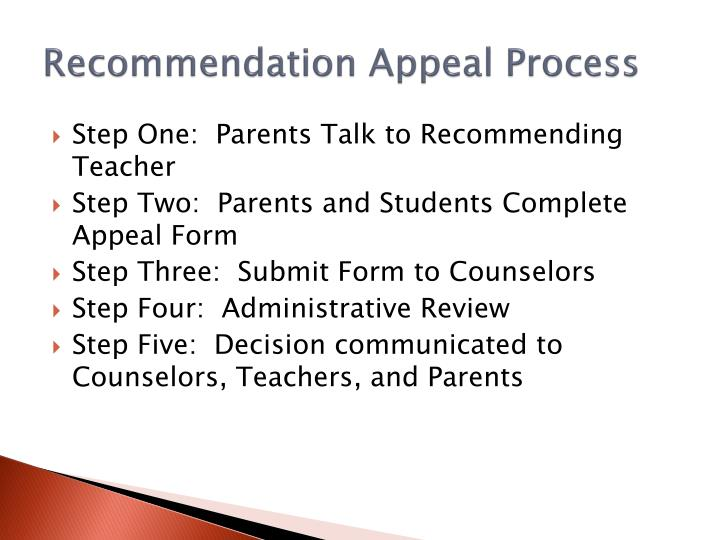 Recommendation Appeal Process