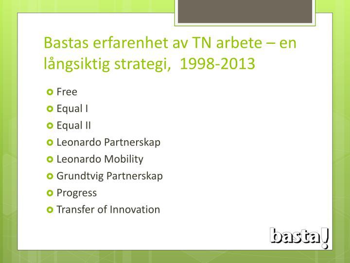 Bastas erfarenhet av TN arbete – en långsiktig strategi,  1998-2013