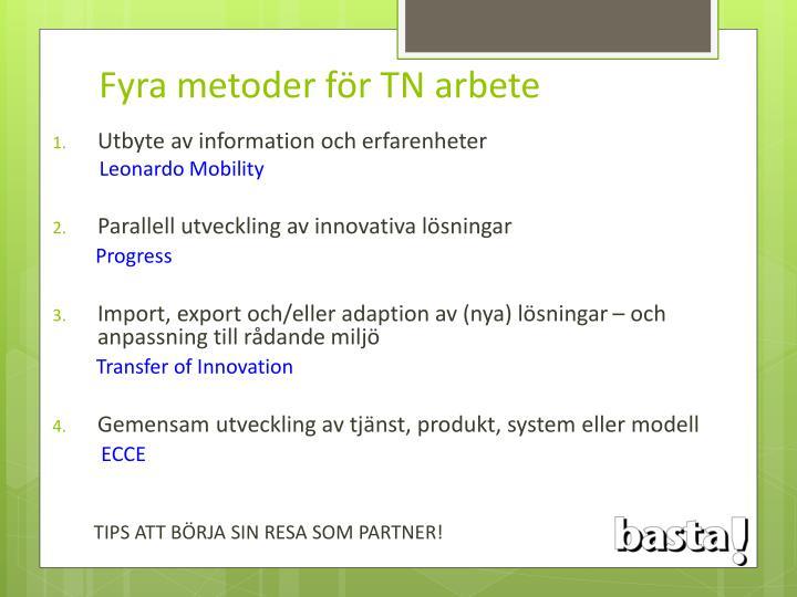 Fyra metoder för TN arbete