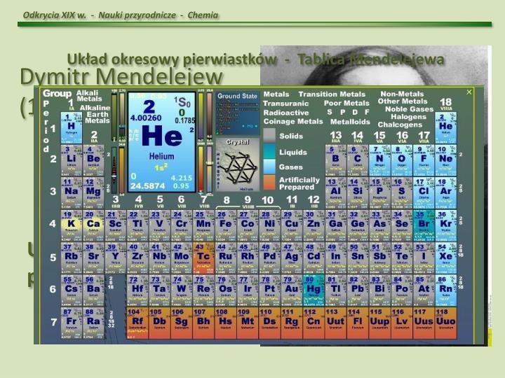 Odkrycia XIX w.  -  Nauki przyrodnicze  -  Chemia