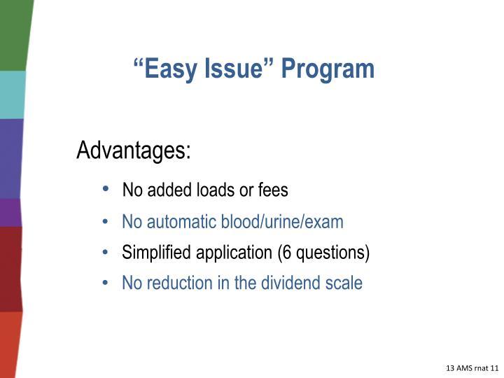 """""""Easy Issue"""" Program"""
