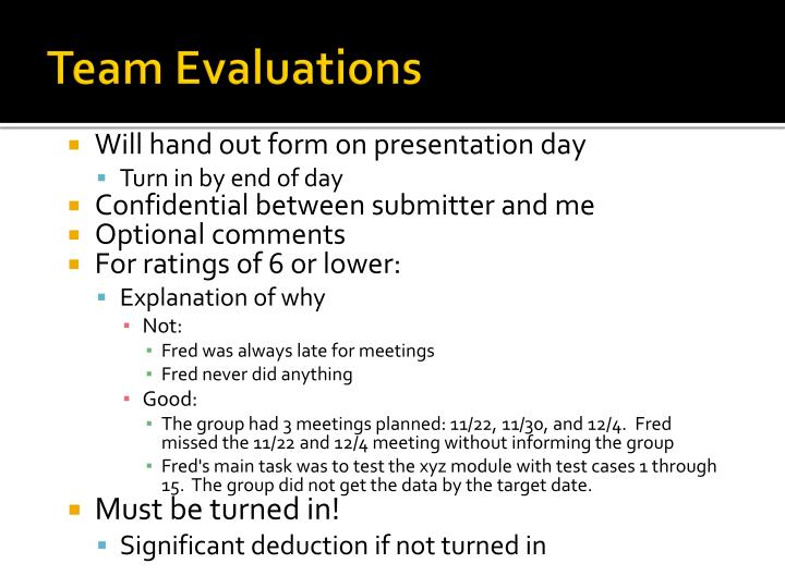 Team Evaluations