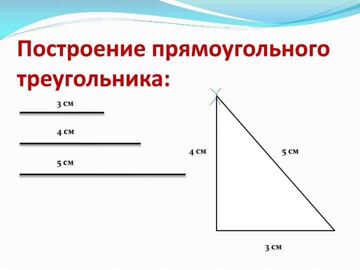 Построение прямоугольного треугольника: