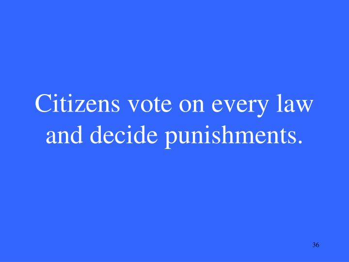 Citizens vote on every law and decide punishments.