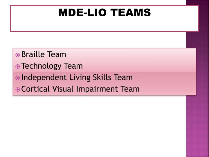 MDE-LIO TEAMS