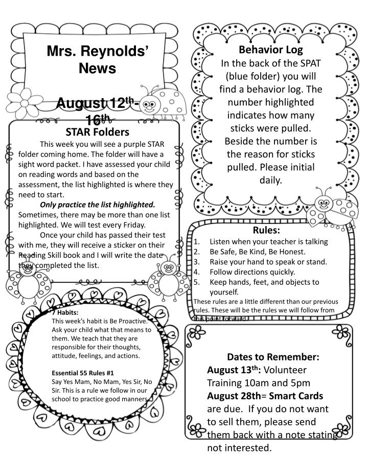 Mrs. Reynolds' News