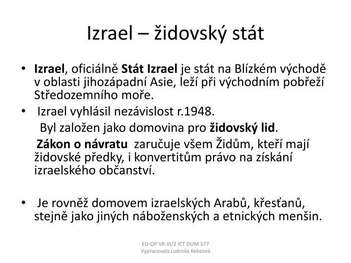 Izrael – židovský stát