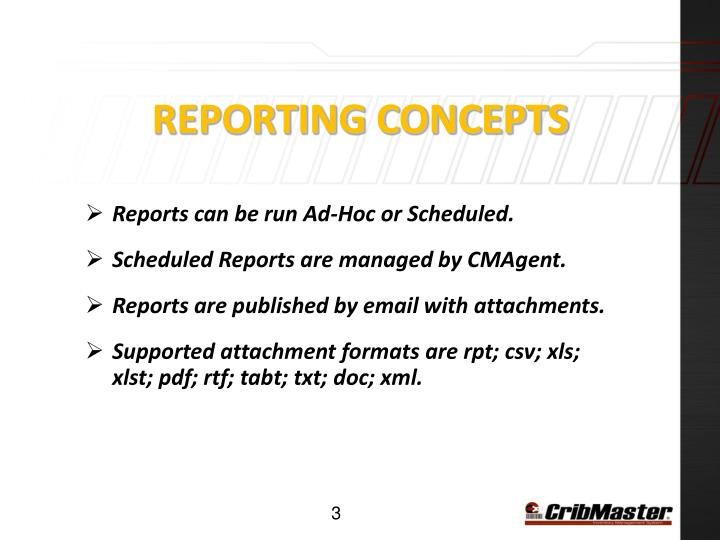 Reporting Concepts