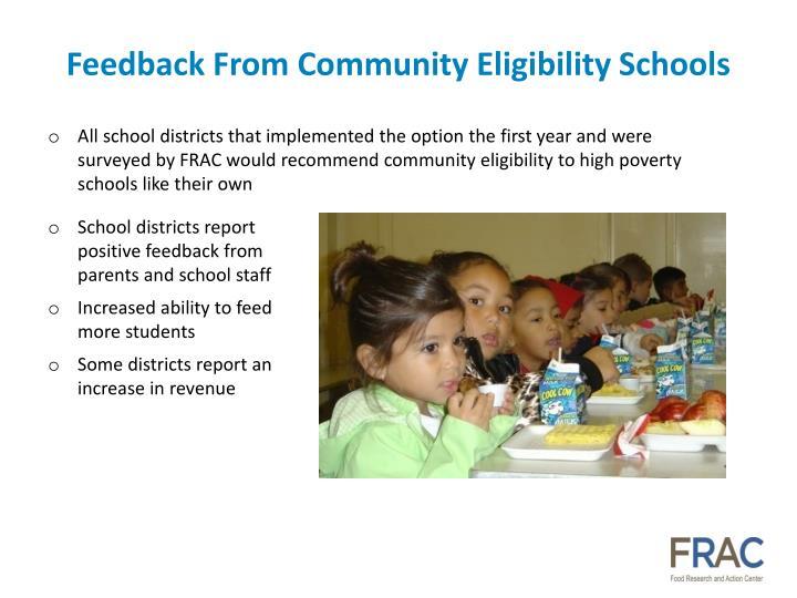 Feedback From Community Eligibility Schools