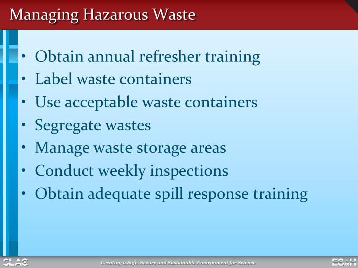Managing Hazarous Waste