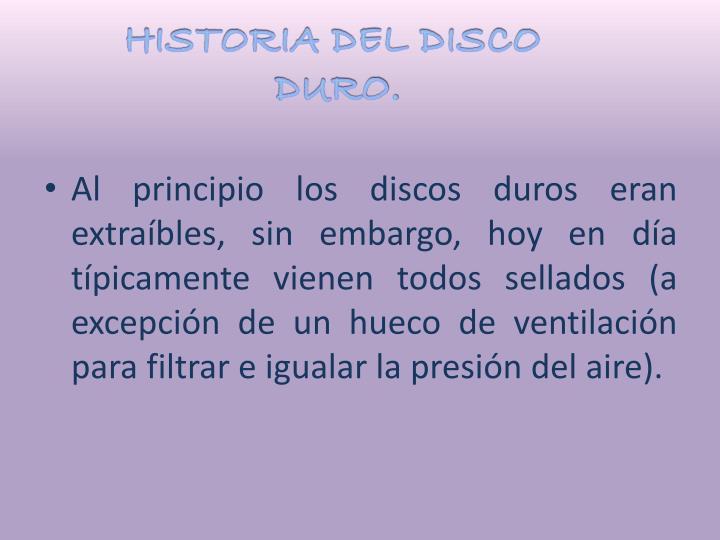 HISTORIA DEL DISCO