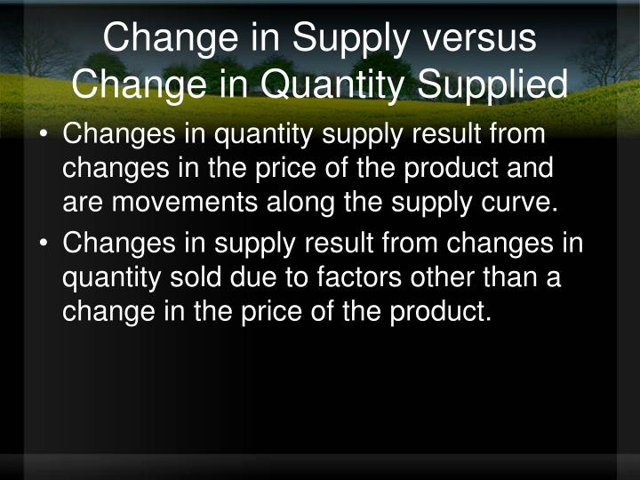 Change in Supply versus