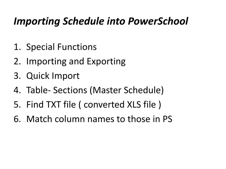 Importing Schedule into PowerSchool