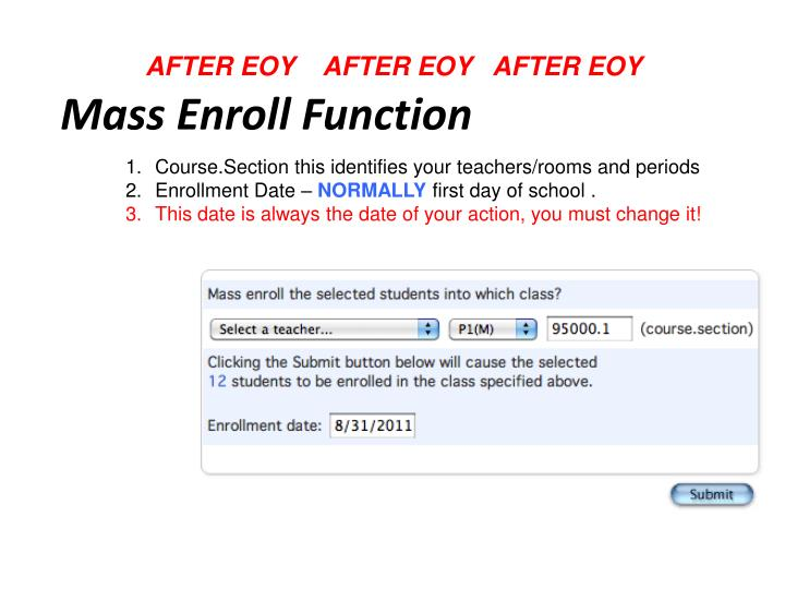 Mass Enroll Function