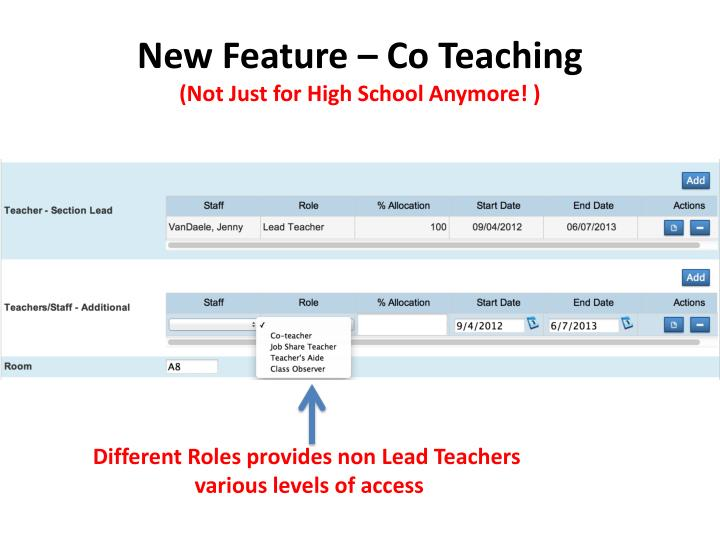 New Feature – Co Teaching