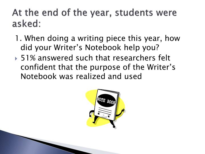 At the end of the year, students were asked: