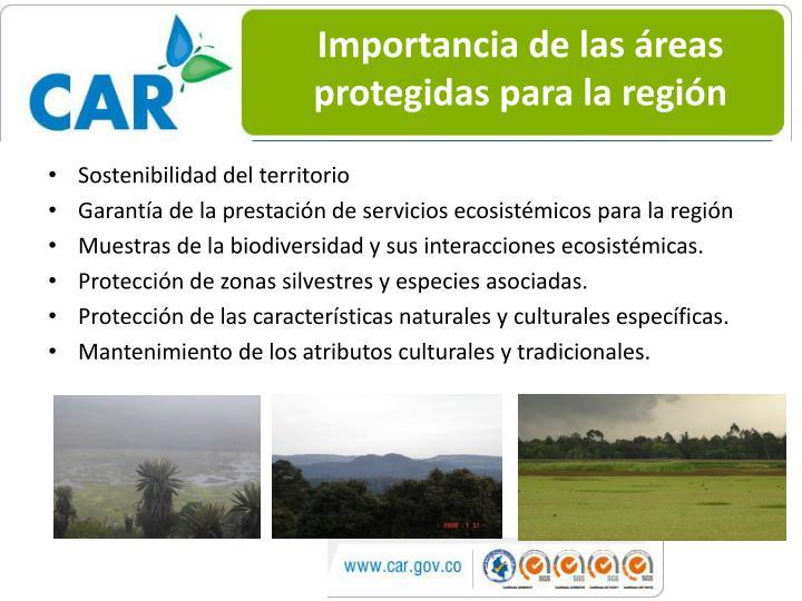 Importancia de las áreas protegidas para la región
