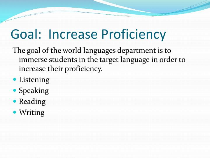 Goal increase proficiency