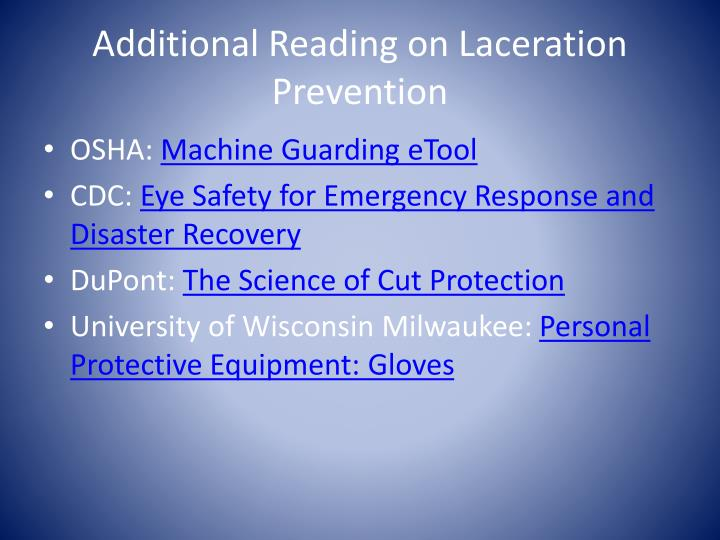 Additional reading on laceration prevention1