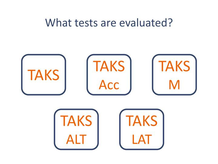 What tests are evaluated?