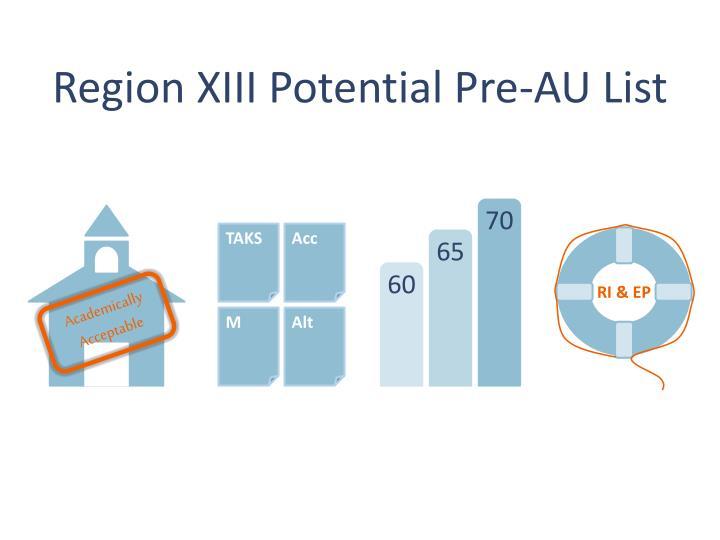 Region XIII Potential Pre-AU List