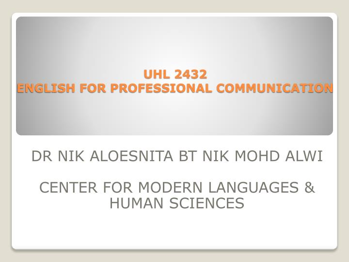 Uhl 2432 english for professional communication
