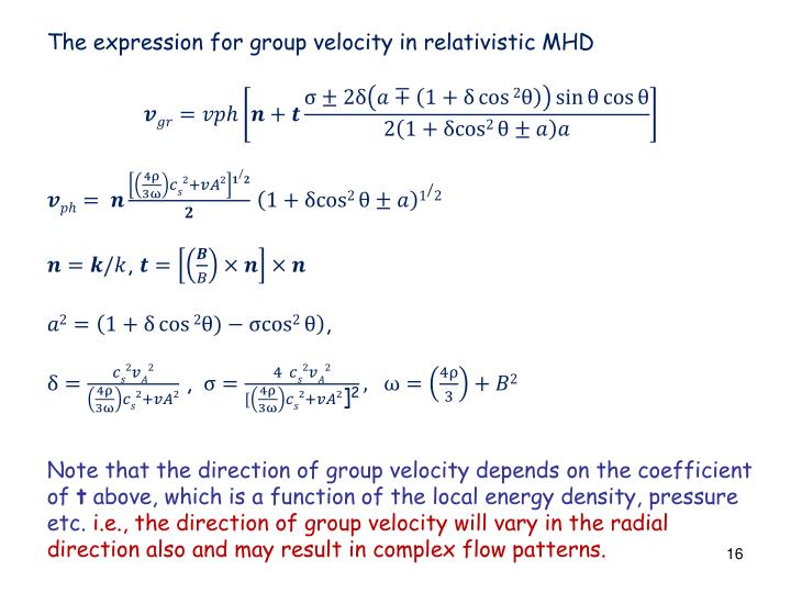 The expression for group velocity in relativistic MHD