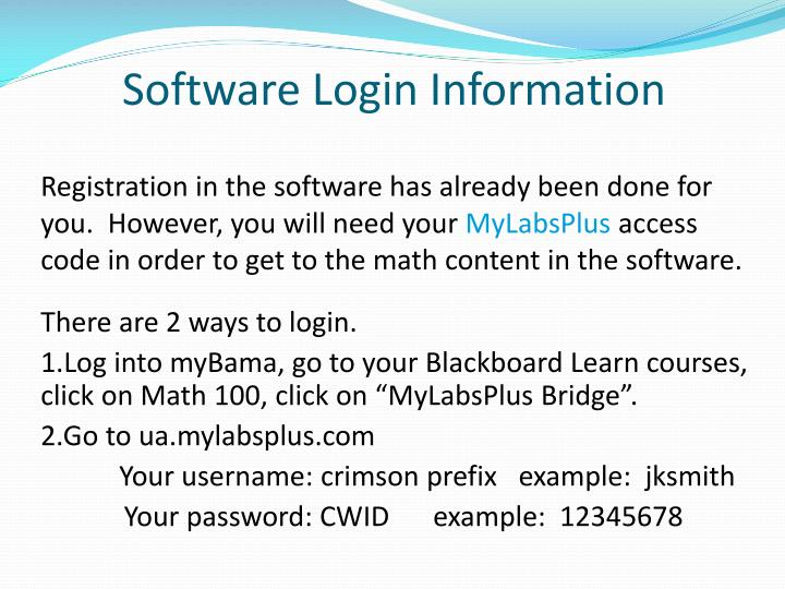 Software Login Information