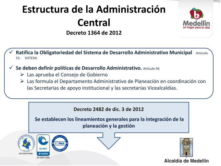 Estructura de la Administración Central