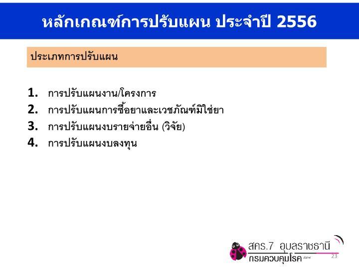 หลักเกณฑ์การปรับแผน ประจำปี 2556
