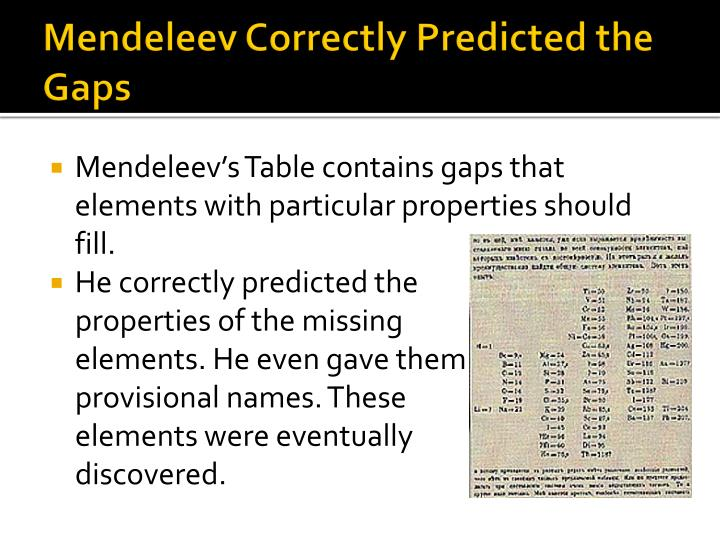 Mendeleev Correctly Predicted the Gaps