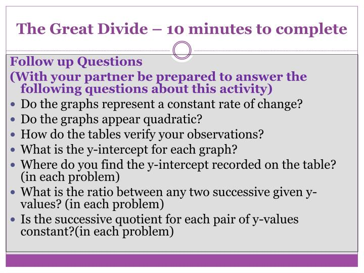 The Great Divide – 10 minutes to complete