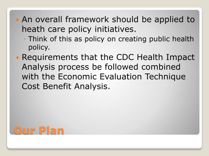An overall framework should be applied to heath care policy initiatives.