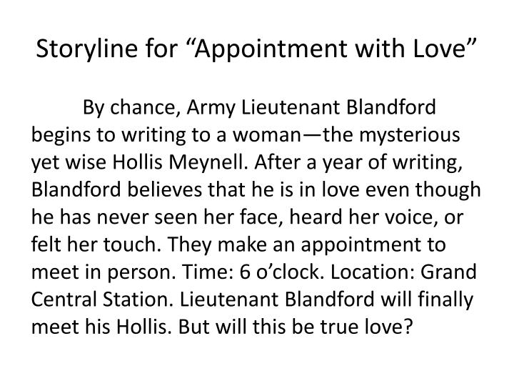Storyline for appointment with love