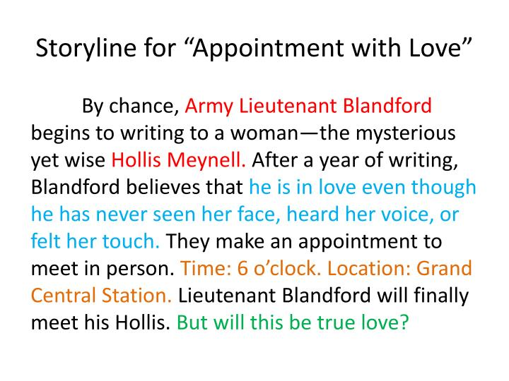 Storyline for appointment with love1