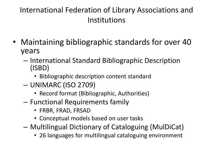 International federation of library associations and institutions